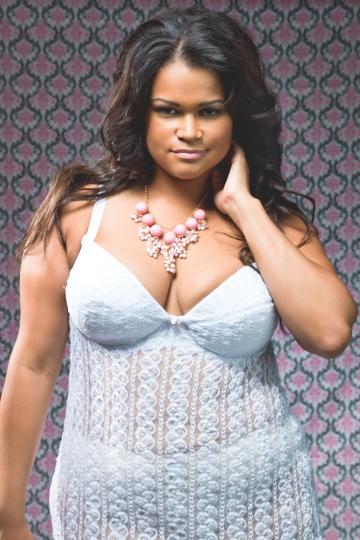 Plus model Christina Mendez for ann Nahari Intimates