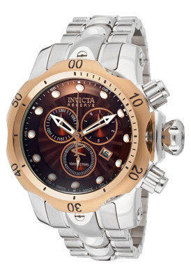 Invicta Men's Specialty Swiss Quartz Chronograph Brown Dial 18L Rose Gold & Stainless Steel Watch ($499)