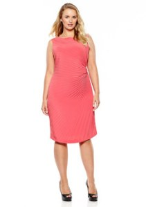 MARINA RINALDI Fuchsia Sleeveless Side Pleated Sheath Dress  $299.99