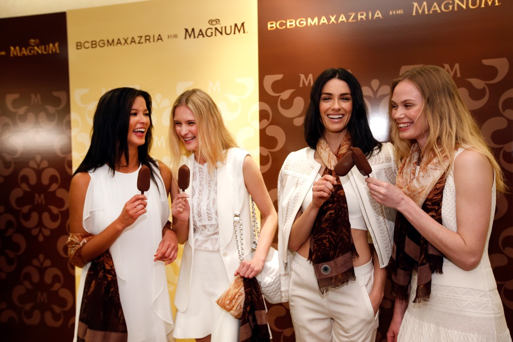 The BCBGMaxazria for MAGNUM Belgian Chocolate Wrap unveiling at BCBGMaxazria on Fifth Avenue,  in New York. (Photo by Jason DeCrow/Invision for MAGNUM/AP Images)