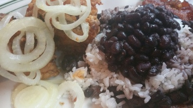 Chicarrones with Black beans and Rice